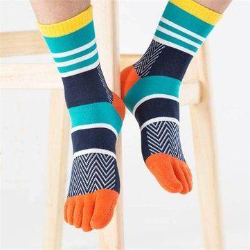 Men's Five Toe Socks Colorful Middle Tube Toe Socks Cotton Breathable Sports Socks Online - NewChic