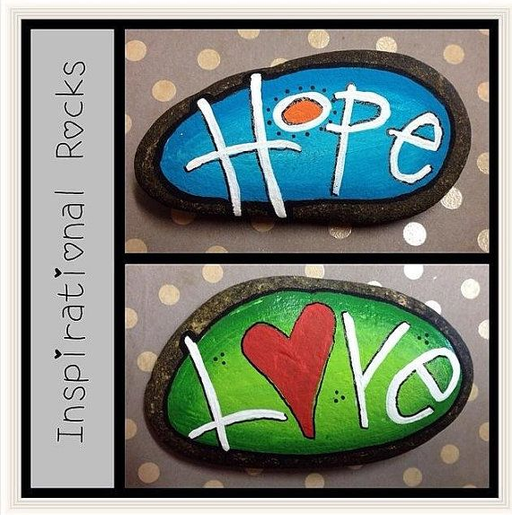 These inspirational painted rocks or stones are great gifts for the holidays, co-workers, family members, or friends! Painted to order &