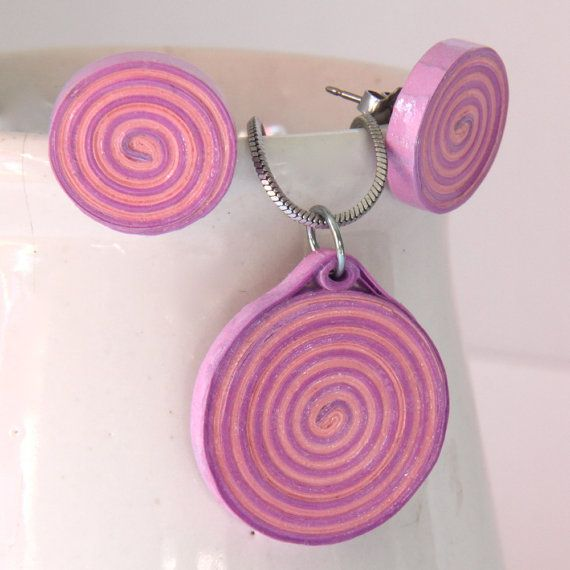 Eco Friendly Spiral Earring and Pendant Set Pink and Purple by HoneysHive