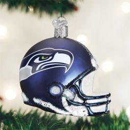 Old World Christmas Seattle Seahawks NFL Football Helmet Glass Ornament at the Official Christmas Ornament Store.com