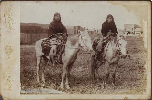 Two Comanche Indian Girls on a Horse. No names, date, or location.