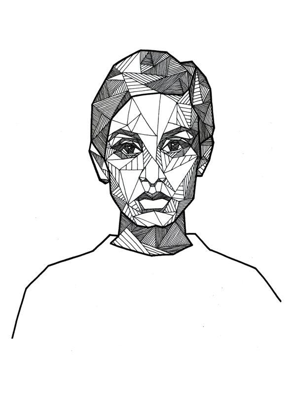 Geometric Portraits - Ink by Allison Kunath, via Behance