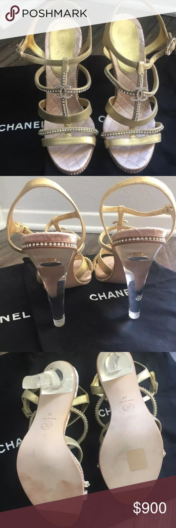 Chanel Lucite and Crystal Heels Unfortunately a little too tight on me. Never worn! From the 2014 collection. Comes with dustbag CHANEL Shoes