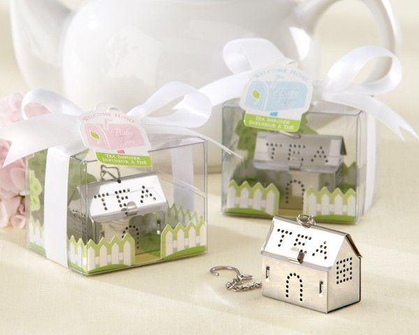 "A tiny ""tea house"" to welcome home a tiny treasure! So clever of Kate Aspen designers to home in on the warmth and comfort of family and the happy dwelling they share. Remind your baby shower guests beautifully that, now, it's tea for three! Features and facts:		House-shaped stainless-steel tea infuser with the word ""TEA"" spelled out in tiny holes on both sides of the roof 		Windows and door are also delineated by tiny holes which infuse the tea 		Chain attached with clip at the end for cup…"