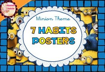 7 Habits Leader in Me posters - Minion Themed