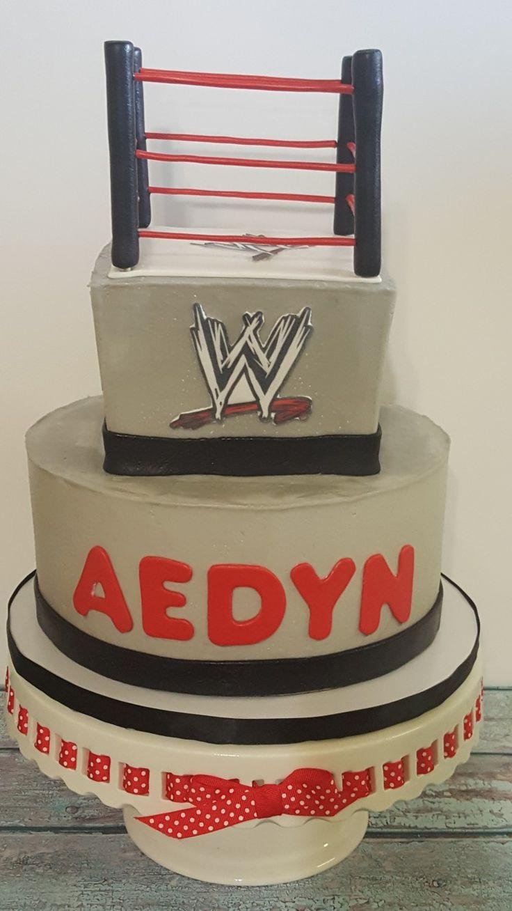 Two tier Wrestling theme birthday cake