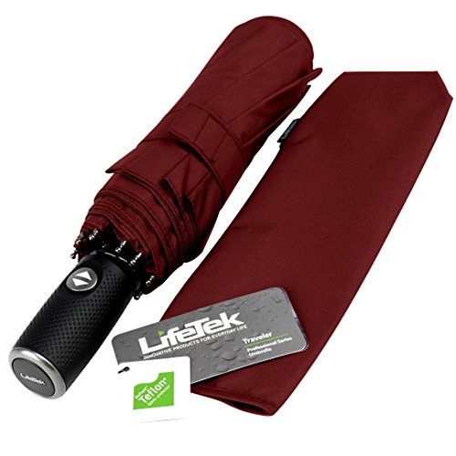 """LifeTek Automatic Travel Umbrella Compact Teflon Canopy Strong Windproof Waterproof Foldable Golf Umbrellas Auto Open Close Large Coverage fits Totes Bags Sturdy Traveler 45\"""" Red -- Find out more about the great product at the image link."""