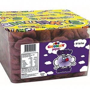 A bulk tub of Chunky Funkeez Grape Clouds.