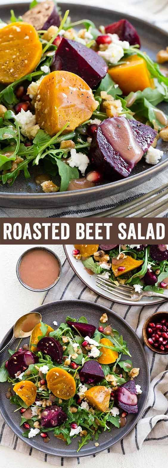 Roasted beet salad with goat cheese topped with a sweet and tangy pomegranate dressing. Walnuts add a nice crunch to each healthy bite! via @foodiegavin @naturesintenttv #AD