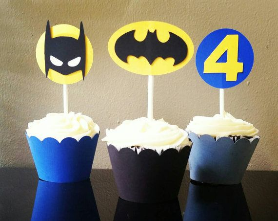 Batman Cupcake Toppers, Batman Cupcakes  Check out this item in my Etsy shop https://www.etsy.com/listing/478566377/batman-cupcake-toppers-batman-cupcake