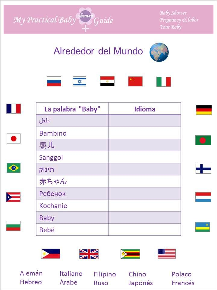 #Juegos #de #Baby #Shower #en #Espanol Alrededor del Mundo! #Juegos #Imprimibles #Gratis de Baby Shower.  Free printable around the world baby shower game!!