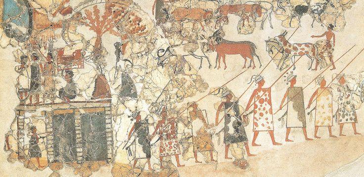 Fresco minoico con soldados que portan casco de colmillos de jabalí micénico. No necesariamente pertenecen a comunidades políticas micénicas , ya que podría tratarse de mercenarios utilizados por entonces por las ciudades minoicas. Datado recientemente entre 1627-1600 a.C.