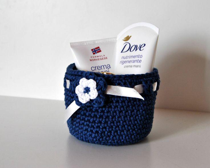Crochet basket, Blue crochet storage basket, Cotton Bowl Basket, Small basket,Organizer, cotton bowls, blue navy  and flowers by Lemiecreazionidarte on Etsy
