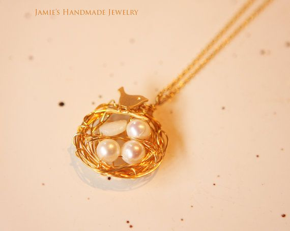 Lovely Gold Bird Nest Necklace Pendant Fresh by JamiesQuilting, $18.50