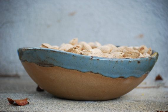 Rustic serving  bowl handmade pottery  blue brown by claylicious, $35.00