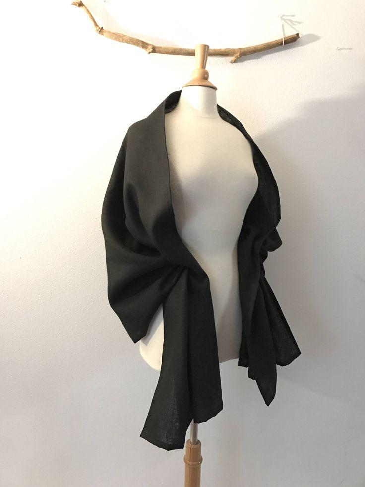 black linen wrap shawl  ready to ship 80 inch long