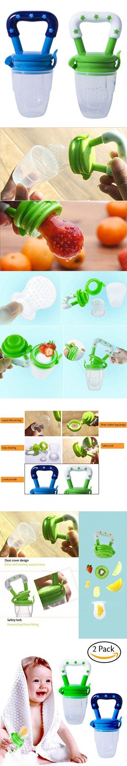 Hibery 2 Pack Baby Food Feeder, Baby Fruit Net, Fresh Food Feeding Pacifier, Fruit Teether, Silicone Feeder with Fresh Food