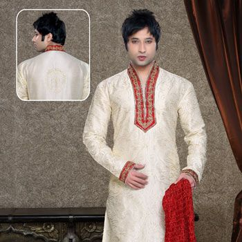 Cream and Red Art Dupion Kurta with Churidar