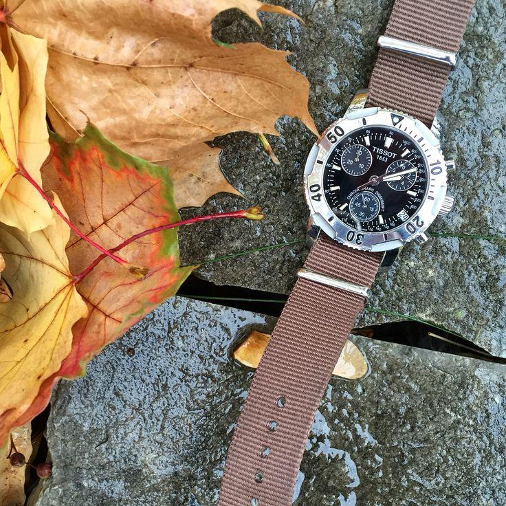 Cold, windy Autumn. Tissot PRS200 on a brown nato strap
