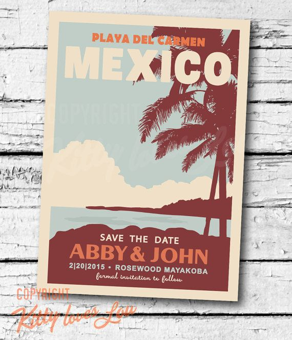 PRINTABLE Save The Date MEXICO Announcement digital PDF Destination Retro…