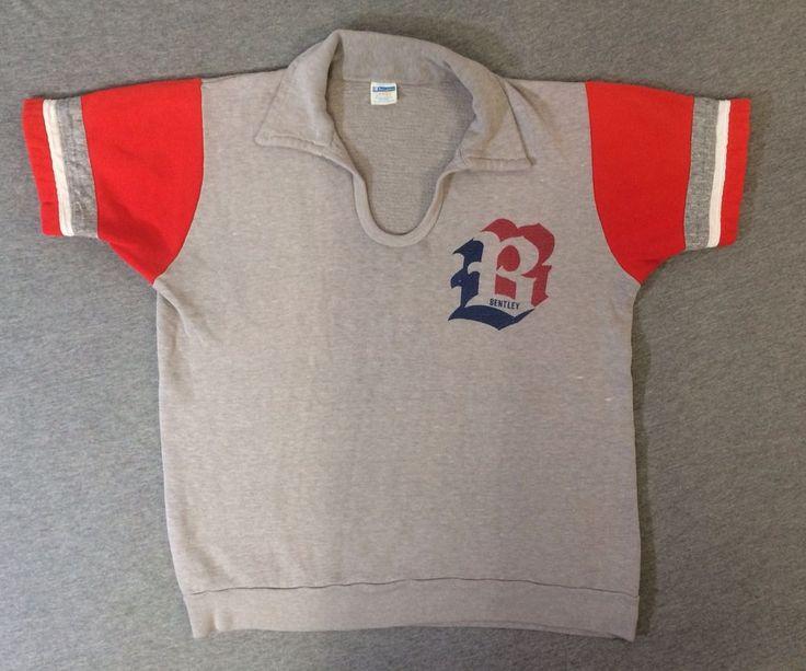 Vintage CHAMPION BLUE BAR Shirt 70's Bentley College Short Sleeve Sweatshirt USA #Champion