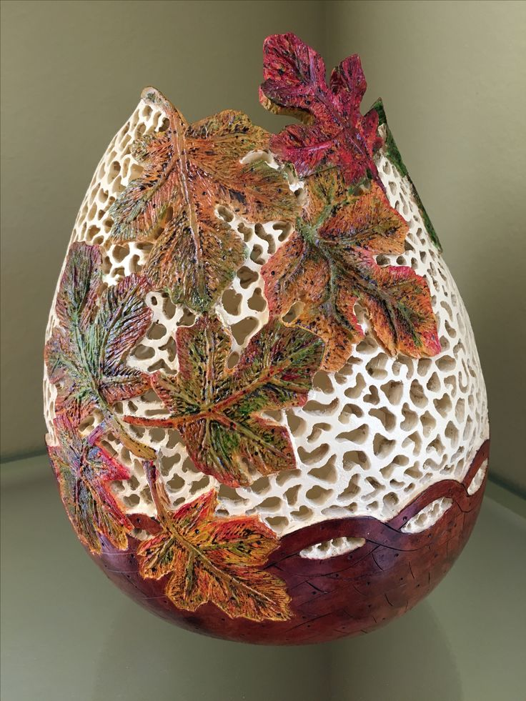 This is a carved gourd by Sue Fuller.                              …