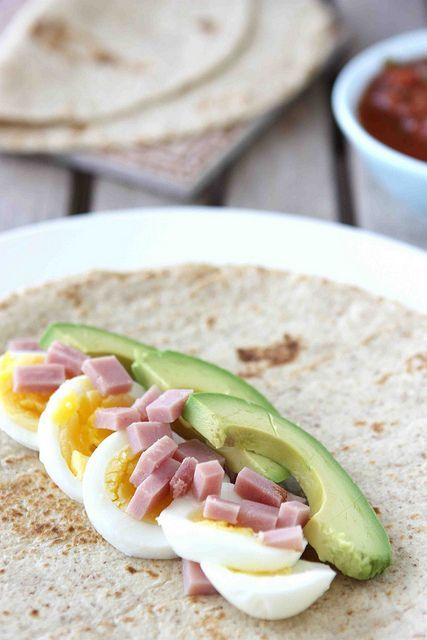 Great simple lunch idea. Hard boiled eggs, ham and avocado. I used seasoned chicken and a little bit of caesar dressing instead of the salsa.  It was fantastic and one wrap was totally filling!