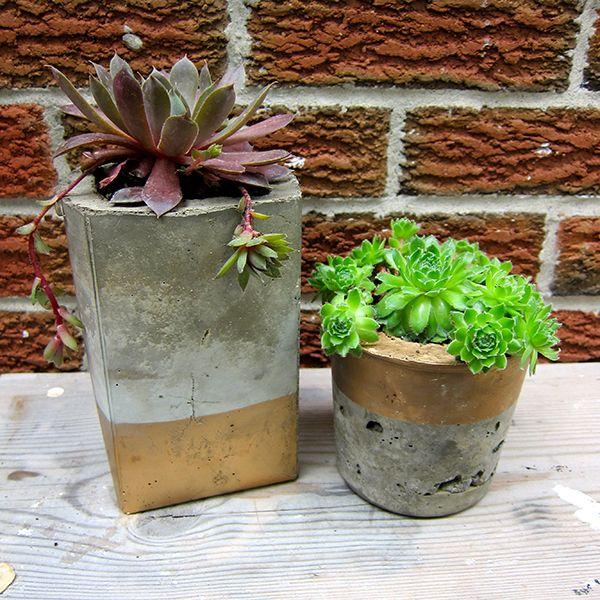 Geodesic Concrete Planter: DIY: Guilded Concrete Planters, Gold Spray Paint It All It
