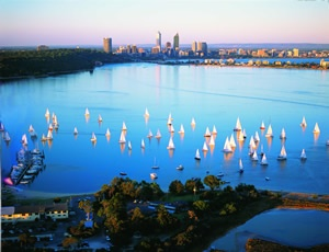 Twilight sailing, Perth, Western Australia
