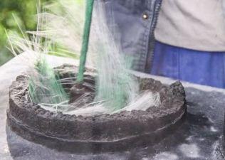 Glidgjutning keramisk tätning av otäta skorstenskanaler