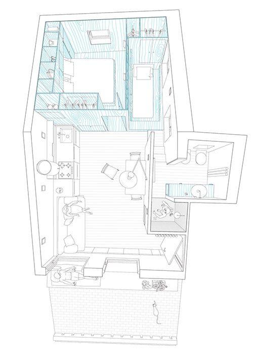 Klein appartement op zolderverdieping oud vissershuisje | Interieur inrichting