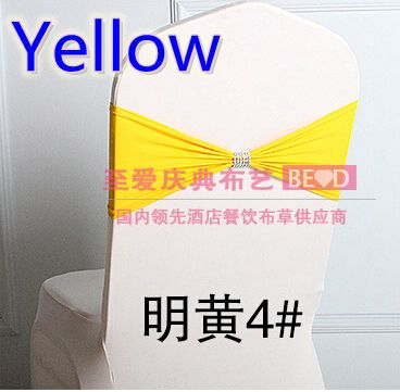 Yellow colour Lycra sash with shiny belt in the middle wedding sash chair decoration wholesale ready made chair sash bow tie