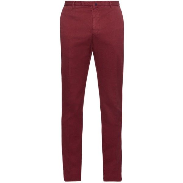 Incotex Slim-fit cotton-blend chino trousers (365 CAD) ❤ liked on Polyvore featuring men's fashion, men's clothing, men's pants, men's casual pants and red