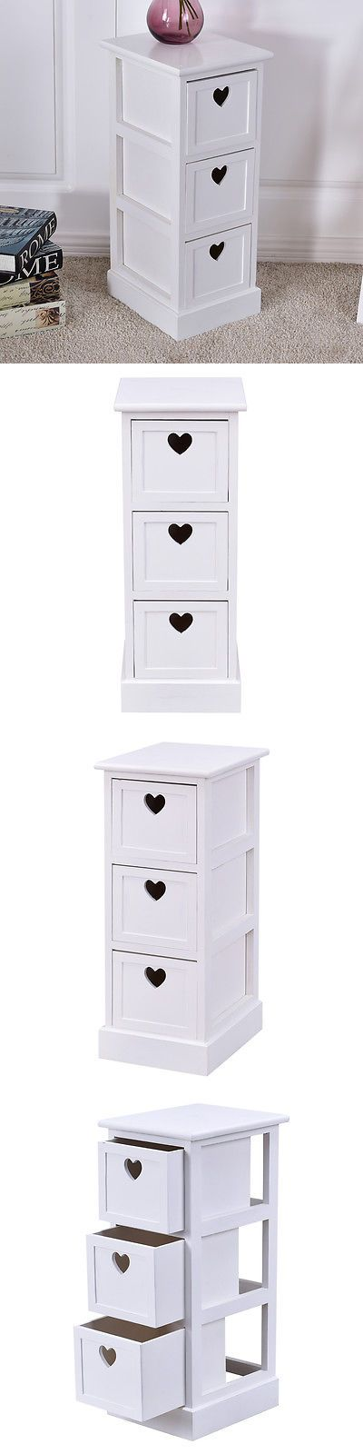 Nightstands 38199: White Wooden Bedside Table Nightstand Cabinet Bedroom Chest W 3 Storage Drawers -> BUY IT NOW ONLY: $38.99 on eBay!
