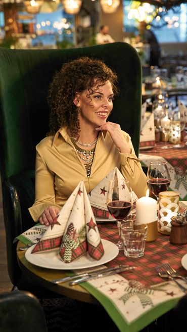 """""""Naturally Christmas"""" napkins and table cover perfect for winter table setting."""