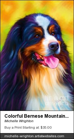 Bold and colorful painting of a gorgeous Bernse Mountain Dog.  Cards, canvas prints, framed prins and phone cases featuring this painting available fro purchase.  #petportraits #dogart #bernese #dogs #artist #pets #artprints #cutedogs #art #giftideas.  http://michellewrighton.com
