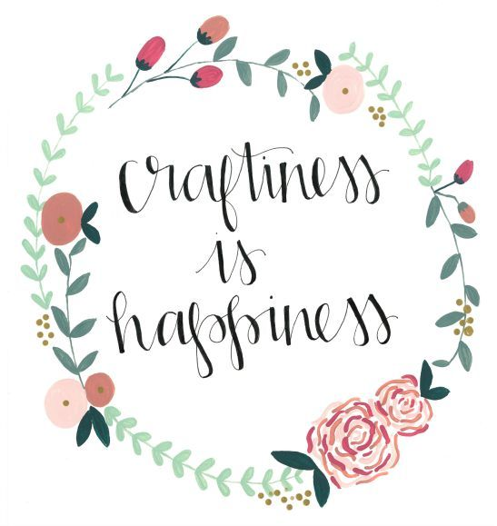 """Craftiness is happiness."" One of three awesome FREE Wall Decor Printables! Awesome craft inspirations for your craft room, dorm room, or anything else. Put them in a custom DIY painted  frame as a special gift for your favorite crafter!"