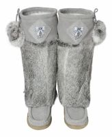 Grey Lukluks high quality womens boots made of rabbit fur and suede with a crepe sole a must have for this fall.  Mukluks