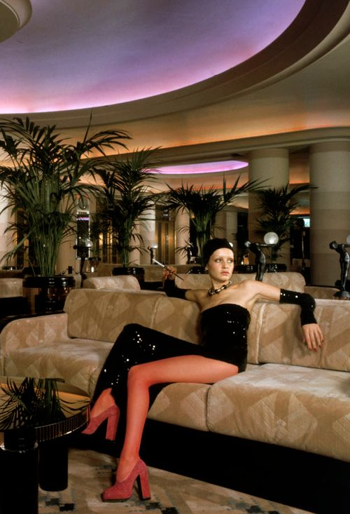 Twiggy lounges in the art deco inspired Rainbow Room restaurant in the Big Biba shop.