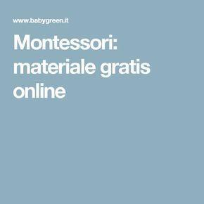 Montessori: materiale gratis online