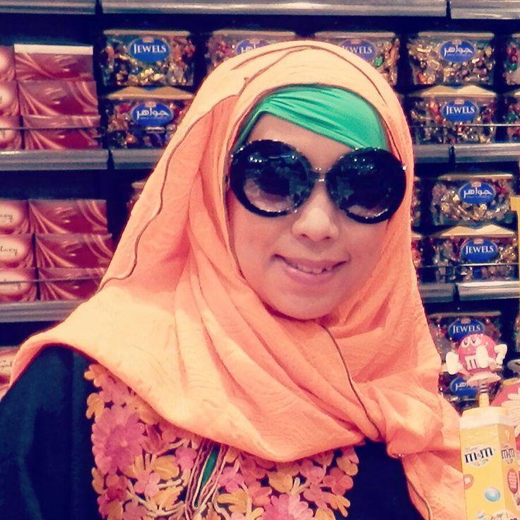 Hijab orange and green