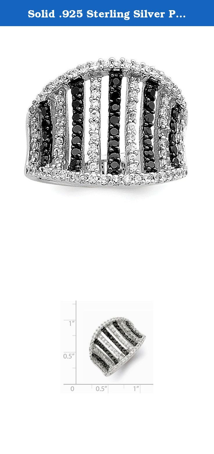 Solid .925 Sterling Silver Polished Black & White CZ Cubic Zirconia Stripes Ring Size 8. Material: Primary - Purity:925|Stone Type_1:Cubic Zirconia (CZ)|Stone Type_2:Cubic Zirconia (CZ)|Stone Color_1:White|Stone Color_2:Black|Material: Primary:Sterling Silver|Stone Treatment_1:Synthetic|Stone Treatment_2:Synthetic|Width of Item:5 mm|Product Type:Jewelry|Jewelry Type:Rings|Material: Primary - Color:White|Ring Type:Fashion|Stone Creation Method_1:Synthetic|Stone Creation Method_2:Synthetic.