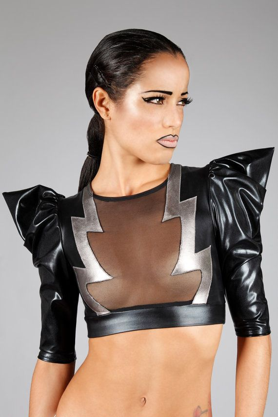 Lena Quist lightning bolt crop top - the dramatic pointy sleeves mirror the lightning bolts!