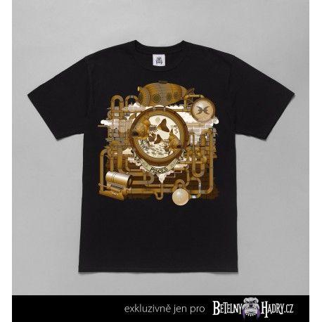 Pánské tričko s kvalitním potiskem znamení Ryb ve steampunkovém fantasy stylu.
