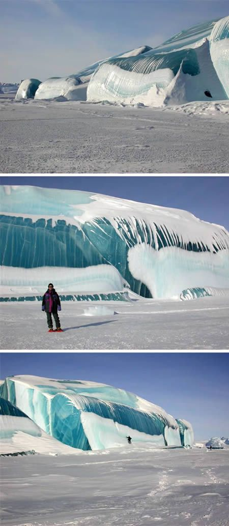 Despite its looks, this is not really a tidal wave but ice created from glacial movements forming tidal wave looks. Pretty cool