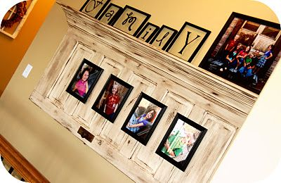 To make this cool shelf you need an old door (or one that you make look old), an old knob, a piece of crown molding to create dimension and shelving...And photos of your beautiful family.