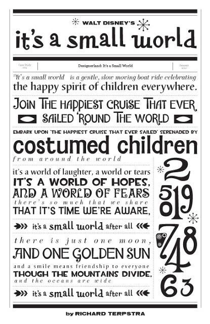 It'a A Small World Typography by Richard Terpstra. Would be sooo cute as background paper in a scrapbook!