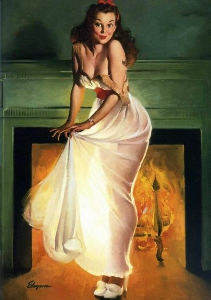 Gilelvgren, Fireplaces, Vintage Pinup, Pinupgirl, Pinup Girls, Pinup Art, Gil Elvgren, Pin Up Girls, Sheer Delight