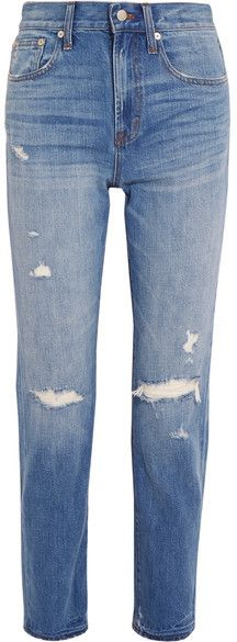 Madewell - The Perfect Vintage Distressed High-rise Straight-leg Jeans - Mid denim