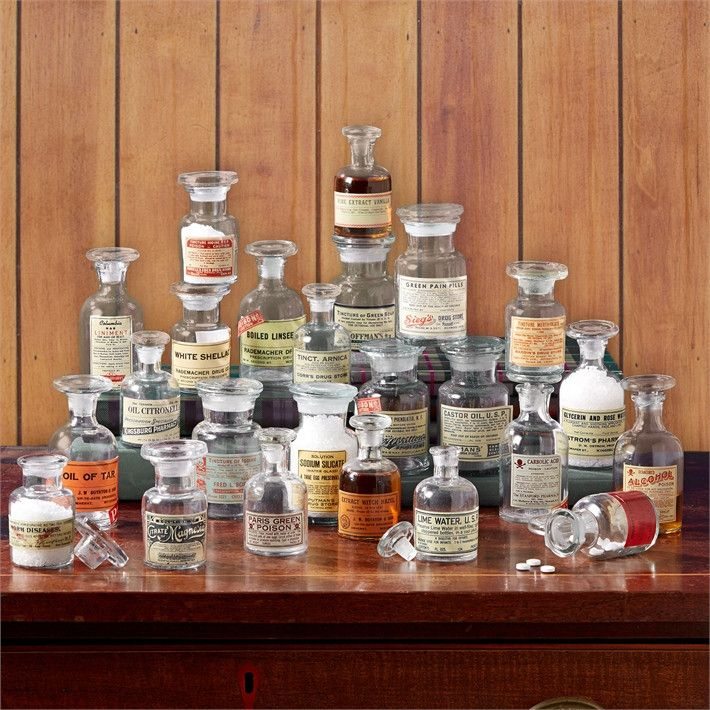 Two's Company Apotheke Set of 24 Vintage Apothecary Jars Includes 4 Sizes (small imperfections, variation in shape and size are natural characteristics of Hand-Blown glass) - Glass – Modish Store